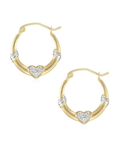 Fine Jewellery 14K Two-Tone Gold Heart Hoop Earrings-TWO TONE-One Size