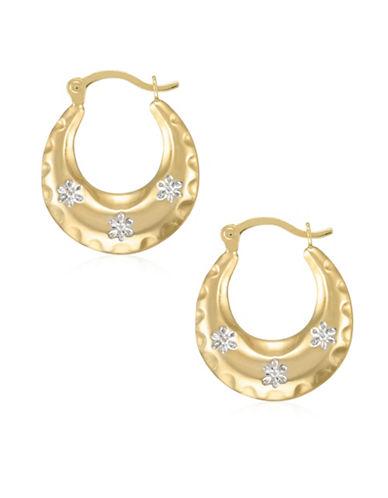 Fine Jewellery 14K Two-Tone Gold Diamond-Cut Creole Hoop Earrings-TWO TONE-One Size