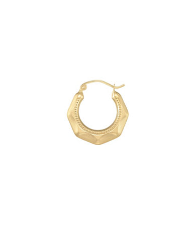 Fine Jewellery 14K Yellow Gold Faceted Hoop Earrings-YELLOW-One Size