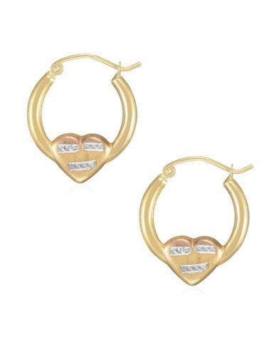 Fine Jewellery 14K Tri-Tone Gold Heart Hoop Earrings-TRI TONE-One Size