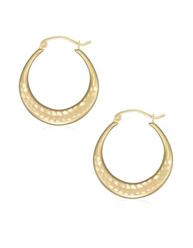 Fine Jewellery 14K Yellow Gold Diamond-Cut Hoop Earrings-YELLOW-One Size