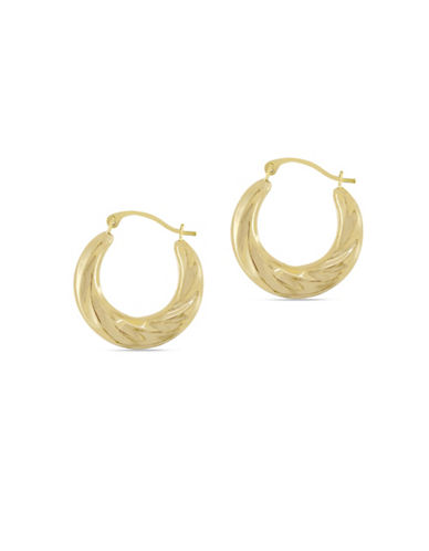 Fine Jewellery 14K Yellow Gold Wrapped Hoop Earrings-GOLD-One Size