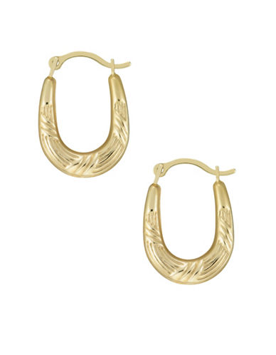 Fine Jewellery 14kt Yellow Gold Diamond Cut Hoop Earrings-GOLD-One Size