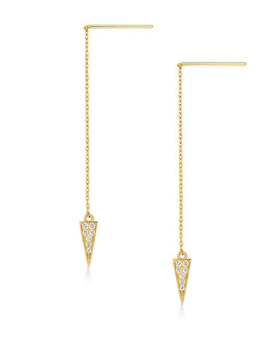 Fine Jewellery 14K Yellow Gold Chain Drop Earrings-GOLD-One Size