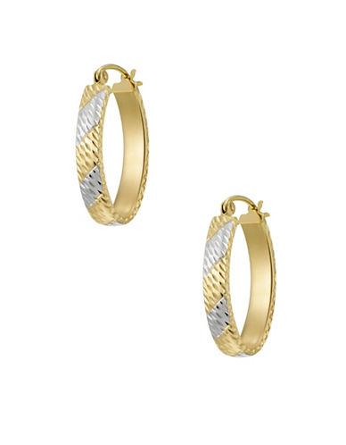Fine Jewellery 14kt Two-Tone Oval Hoop Earrings-TWO TONE-One Size