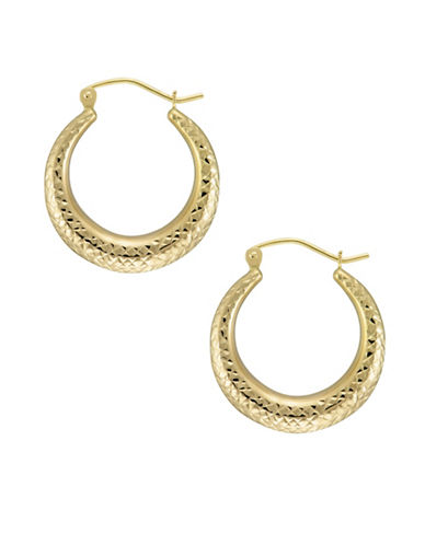 Fine Jewellery 14kt Yellow Gold Diamond Textured Hoop Earrings-GOLD-One Size