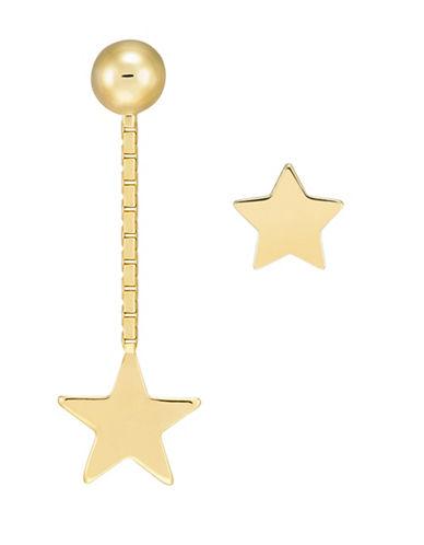 Fine Jewellery 14kt Yellow Gold Asymmetric Star Earrings-GOLD-One Size