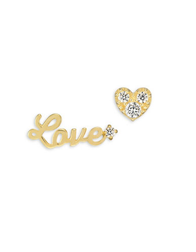Fine Jewellery 14K Yellow Gold and Cubic Zirconia Love and Heart Stud Earrings-GOLD-One Size