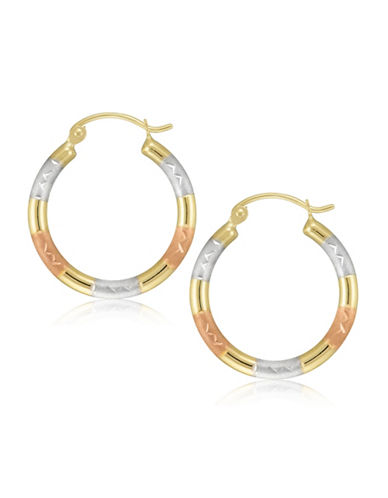 Fine Jewellery 14K Tri-Tone Gold Round Hoop Earrings-GOLD-One Size