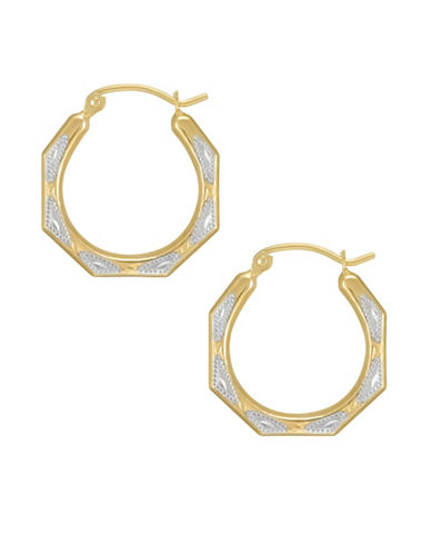Fine Jewellery 14kt Two-Tone Gold Creole Hoop Earrings-TWO TONE-One Size