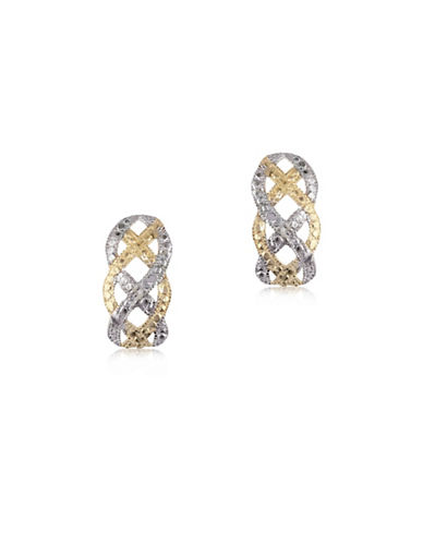 Gold Celebration 14k Two-Tone Gold J Studs-TWO TONE-One Size