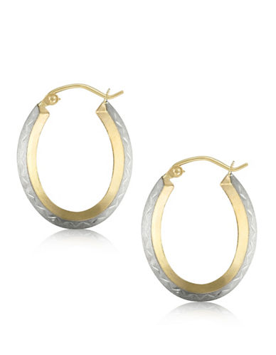 Gold Celebration 14k Two-Tone Gold Oval Hoop Earrings-TWO TONE-One Size