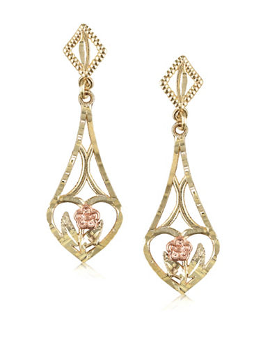 Gold Celebration 14K Gold Filigree Drop Earrings-GOLD-One Size
