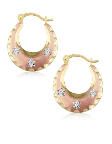Gold Celebration Tri-Tone 14K Gold Round Hoop Earrings-ROSE-One Size
