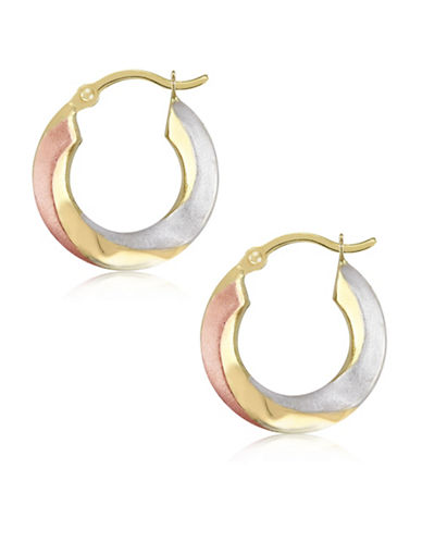 Gold Celebration Tri-Tone 14K Gold Round Hoop Earrings-TRI-TONE-One Size