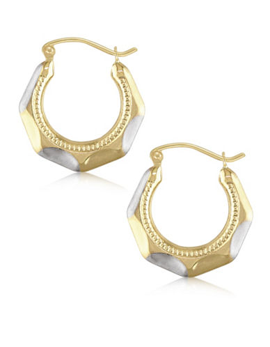 Gold Celebration Two-Tone 14K Gold Round Hoop Earrings-TWO-TONE-One Size