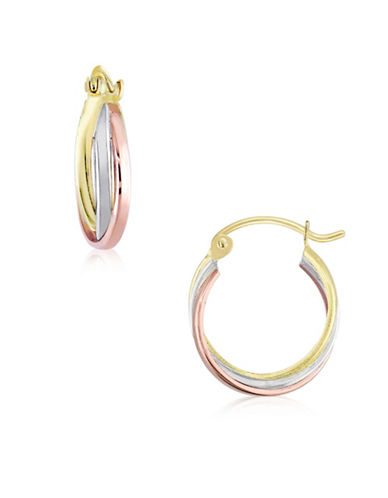 Gold Celebration Tri-Tone Triple Tube Hoop Earrings-TRI-TONE-One Size