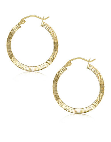Gold Celebration 14K Yellow Gold Etched Hoop Earrings-GOLD-One Size