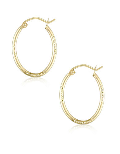 Gold Celebration 14K Gold Etched Oval Hoop Earrings-GOLD-One Size