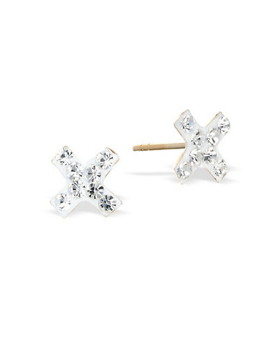 Gold Celebration X Crystal Stud Earrings-GOLD-One Size