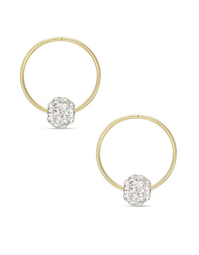 Gold Celebration 14kt Gold Fireball Beaded Hoop Earrings-GOLD-One Size