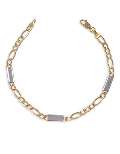 Fine Jewellery 10K Yellow and White Gold Figaro Chain-GOLD-22