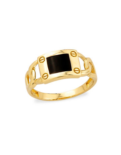 Fine Jewellery 10K Yellow Gold Onyx Ring-GOLD-11