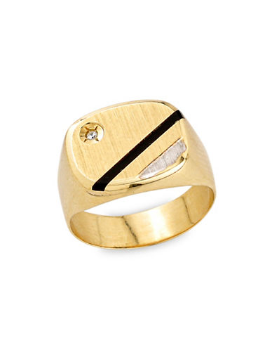 Fine Jewellery Onyx 10K Gold Strip Signet Ring with 0.1 TCW Diamonds-GOLD-12