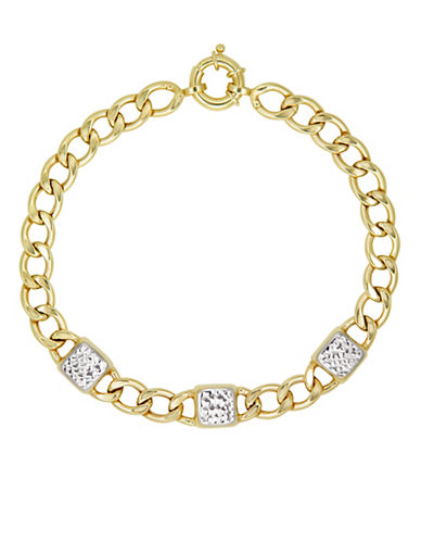 Fine Jewellery 10K Two-Tone Gold Link Bracelet-GOLD-One Size