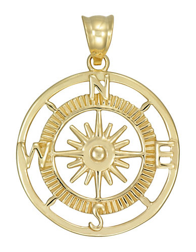 Fine Jewellery 10K Yellow Gold Compass Pendant-GOLD-One Size
