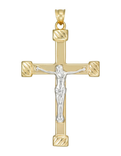 Fine Jewellery 10K Two-Tone Gold Crucifix Pendant-GOLD-One Size