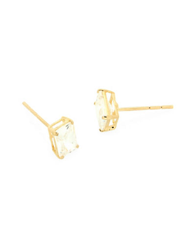 Fine Jewellery Baguette Crystal 14K Gold Stud Earrings-GOLD-One Size