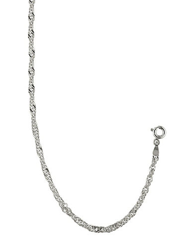 Fine Jewellery 14K White Gold Sparkle Singapore Hollow Rope Bracelet-SILVER-One Size