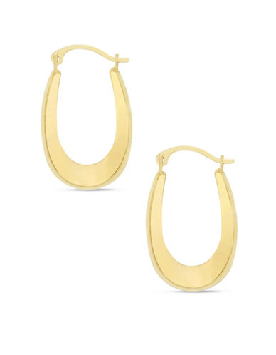 Fine Jewellery 10K Yellow Gold Oval Hoop Earrings-GOLD-One Size