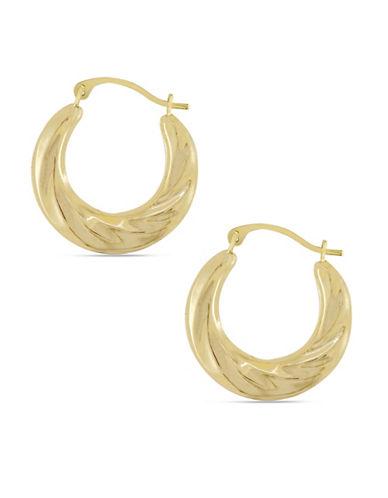 Fine Jewellery 10K Yellow Gold Twisted Hoop Earrings-GOLD-One Size
