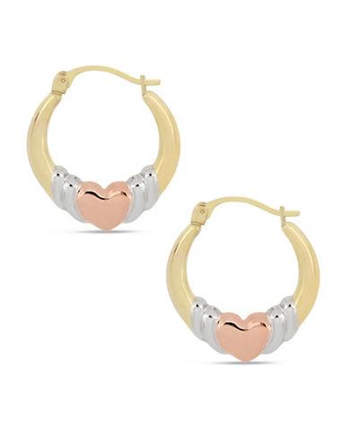 Fine Jewellery 10K Yellow Gold Heart Hoop Earrings-MULTI-One Size