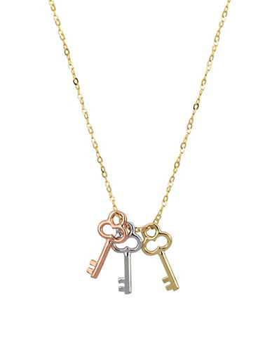 Fine Jewellery Tri-Colour 10K Goldplated Key Necklace-TRI TONE-One Size
