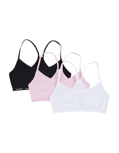 Calvin Klein Three-Pack Crop Bras-ASSORTED-Medium