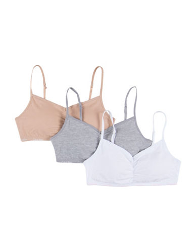 Calvin Klein Three-Pack Padded Crop Bras-ASSORTED-X-Large
