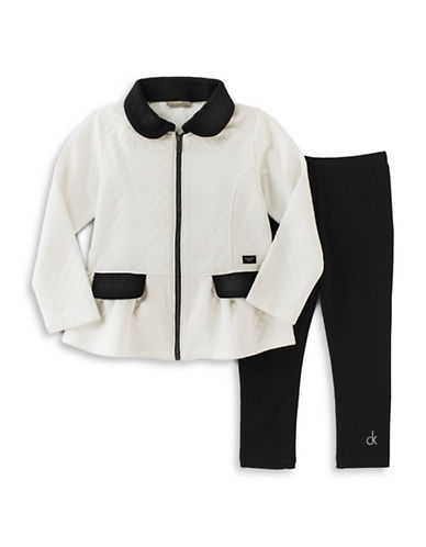 Calvin Klein Double-Knit Quilt Jacket and Leggings Set-WHITE-12 Months 88792656_WHITE_12 Months