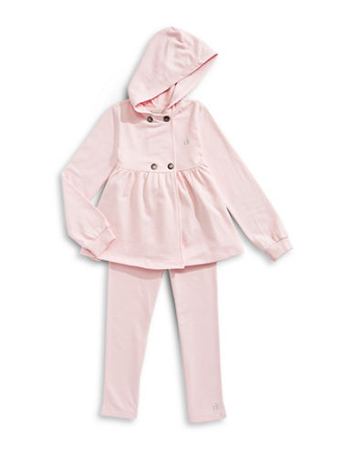 Calvin Klein Snap-Button Soft Jacket and Leggings Set-PINK-6