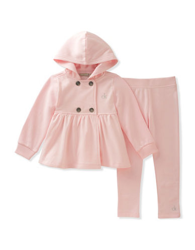 Calvin Klein Two-Piece Fleece Double Breasted Buttoned Jacket and Cotton Pants Set-PINK-12 Months