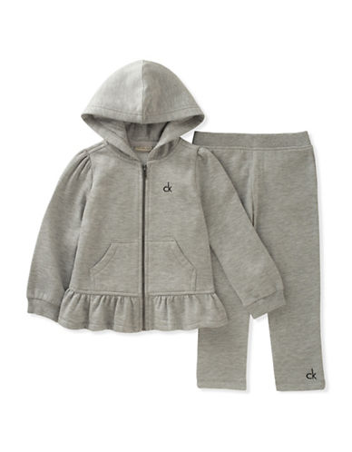 Calvin Klein Two-Piece Fleece Peplum Hoodie and Cotton Pants Set-GREY-24 Months