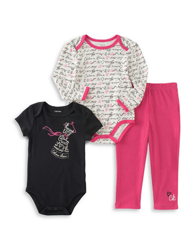 Calvin Klein Three-Piece Body Suits and Pants Set-PINK-24 Months