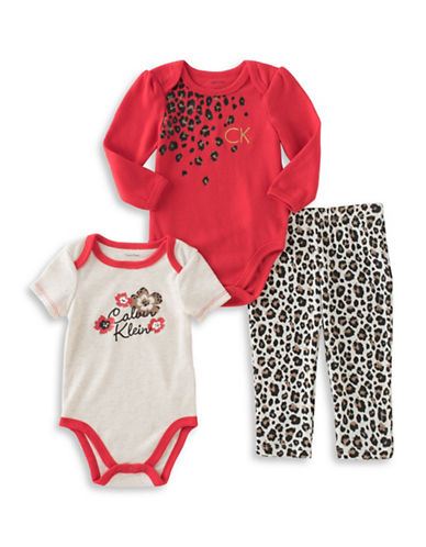 Calvin Klein Three-Piece Body Suits and Pants Set-RED-12 Months