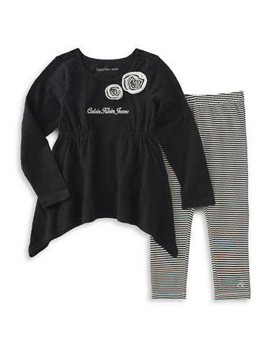 Calvin Klein Two-Piece Striped Leggings and Tunic Set-BLACK-12 Months