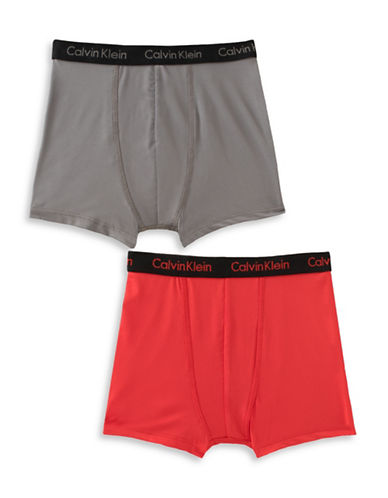 Calvin Klein Performance Boxer Briefs-GREY/RED-Small