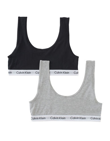 Calvin Klein KIDS Two-Pack Modern Cotton Bras-GREY-Large plus size,  plus size fashion plus size appare