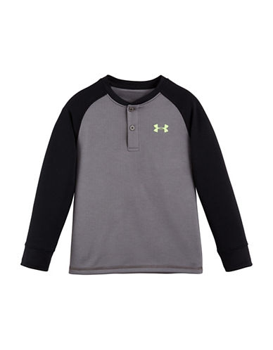 Under Armour Waffle Henley Top-GREY-7 88880269_GREY_7