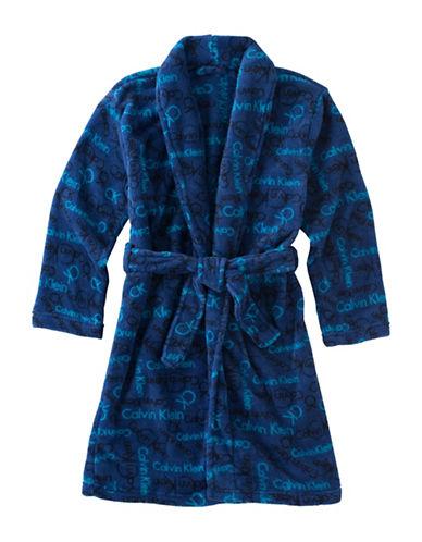 Calvin Klein Plush Logo Robe-BLUE-10-12 88386883_BLUE_10-12